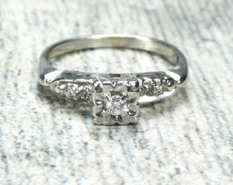 Vintage Engagement Ring Diamond Engagement Ring 14k White Gold Diamond Ring Orange Blossom Diamond Ring Floral Promise Ring Size 7