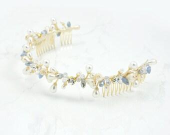 Wedding pearl headpiece,Bohemian Bridal Hair Accessories,Vine crown,  Boho Bridal Headpiece,Bridal Halo Headpiece, Bridal hair vine,