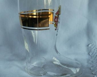 Vintage German Glass Boot with the Berlin Crest