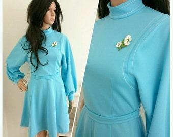 Vintage 60s 70s Blue Appliqué Daisy Mini A line Shift Dress Mod Boho / UK 8 / EU 36 / US 4