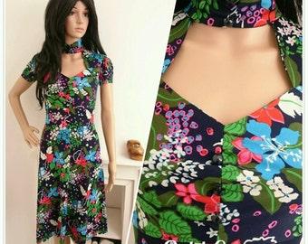 Vintage 70s Navy Botanical Floral Daisy Sweetheart Tea Dress Boho 40s / UK 6 8 / EU 34 36 / US 2 4