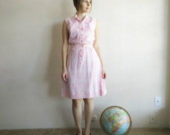 Vintage 1960s Pink Plaid Golf Dress