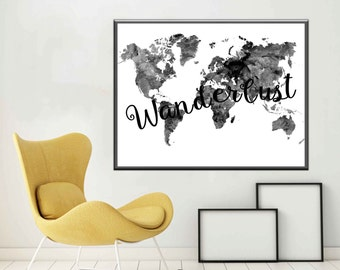 Black and white A2 World Map Modern World Map Wall Art Map Art Black and white Prints World Map Printable Monochrome A2 World Map Poster