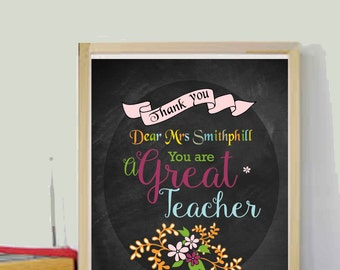 Unique Teacher Gift Teacher Gifts Teacher Appreciation Gift Back to School  Gift Student Gift Chalkboard Printable Chalkboard Style