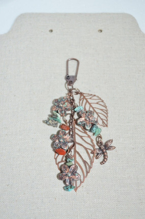 Keychain or Accessory Clip Dragonfly, Copper Leaf with Turquoise & Red Jasper, Dragonfly Patina Daisy Clip, Leaves and Stone Chip Bag Clip