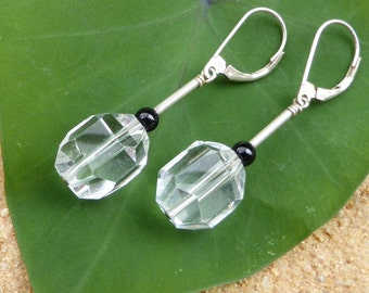 Rock Quartz Earrings Faceted Crystal Sterling Silver Leverback Hill Tribe Silver Black Agate Boho Artisan Designer Clear Quartz Gemstone