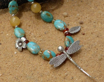 Turquoise Necklace Hill Tribe Silver Dragonfly Necklace Flower Leaf Boho Artisan Citrine Carnelian Agate Gemstone Necklace