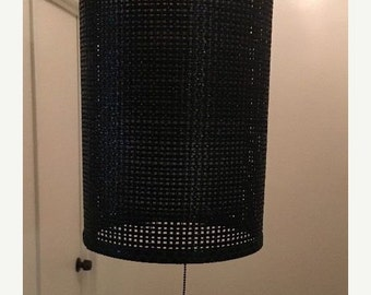 On Sale Vintage Mid Century Black Wicker Hanging Swag Ceiling Light Lamp Cylindrical
