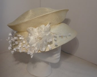 Wedding Hat Packable Parasisal Straw Cream/White