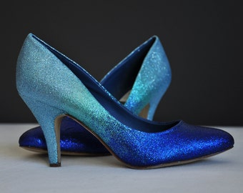 Blue ombre low heels blue pumps something three colors ombre blue shoes high heel low heels flat shoes blue shoes blue glitter heels