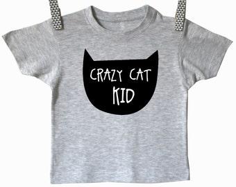 Crazy cat kid shirt. Modern kids clothes. Boys and girls baby and toddler shirt. Kids cat clothes.