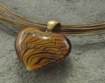 Murano Glass Pendant, Murano Glass Jewelry, Murano Necklace,Glass Heart, Heart Pendant,Choker Necklace,Heart Choker, Gift for Her. Under 15