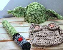 Crochet newborn Yoda baby photo prop |Made to Order | newborn, 0-3 months, 3-6 months, 6-12 months, 12-18 months, 18-24 months.