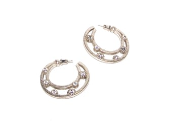 Hoop Earrings - Silver Hoops - Flat Hoop - Rhinestone Hoop Earrings / Unique / 80's
