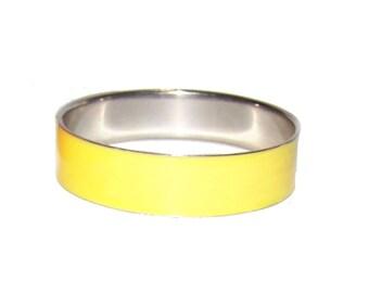 Yellow Bracelet / Silver Bracelet - Wide Bright Yellow Enamel Bangle