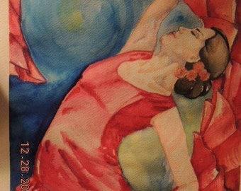 watercolor painting, flamenco, flamenco dancer, dancer, dancer art, flamenco painting, paintings, red artwork
