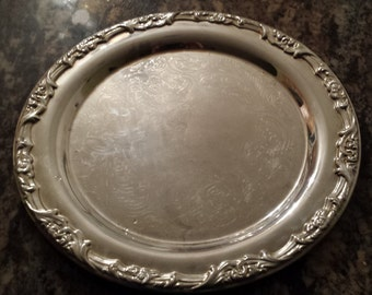 """Elegance Silver 13"""" Round Silver Plated Tray Made in Indonesia 1980 D385-2"""