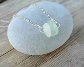 Stacked Sea Glass Necklace, Sea Foam Sea Glass Necklace, White Sea Glass, Sea Glass Trio, Greek Sea Glass, Silver Necklace, SeaGlass Pendant