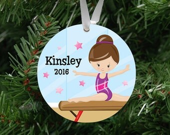 Personalized Girls Gymnastics Ornament Keepsake - Custom Made to Order - 2017