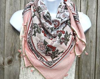 Light Pink Yemeni Scarf - Large Turkish Oya Scarf -  Needle Crochet Yemeni - Handmade Yazma Scarf