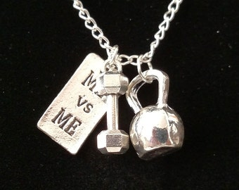 Crossfit Antiqued Silver Necklace Kettle Bell and Weight with Me vs Me Stamped Tag Includes Custom Length Chain and Clasp.