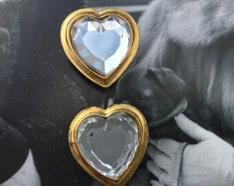 1980's Button covers Large clear heart rhinestones.