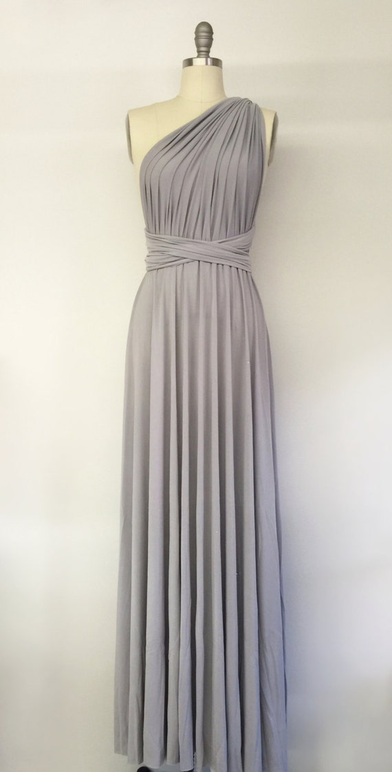 Silver light grey long maxi infinity dress gown by atomattire for Light grey wedding dress