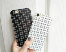 Black and White Grid Pattern Phone Case Protective Bendy Silicone For IPhone 6 6s / IPhone 6 Plus / IPhone 5 5s
