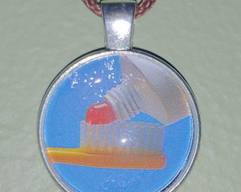 Toothbrush and Toothpaste Pendant Necklace