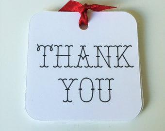 "White Thank You Tags (2.5"" Wide) Thank You Favor Tags - All Purpose Thank You Tags"