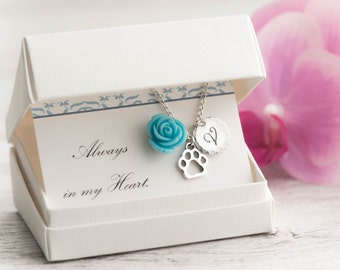 dog paw necklace with birthstone initial, silver paw and always in my heart note - pet lover necklace with initial paw