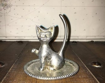 Silver Plated Vintage Cat Ring Holder