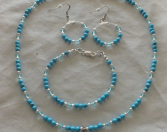 Faux Turquoise set with carved Cross