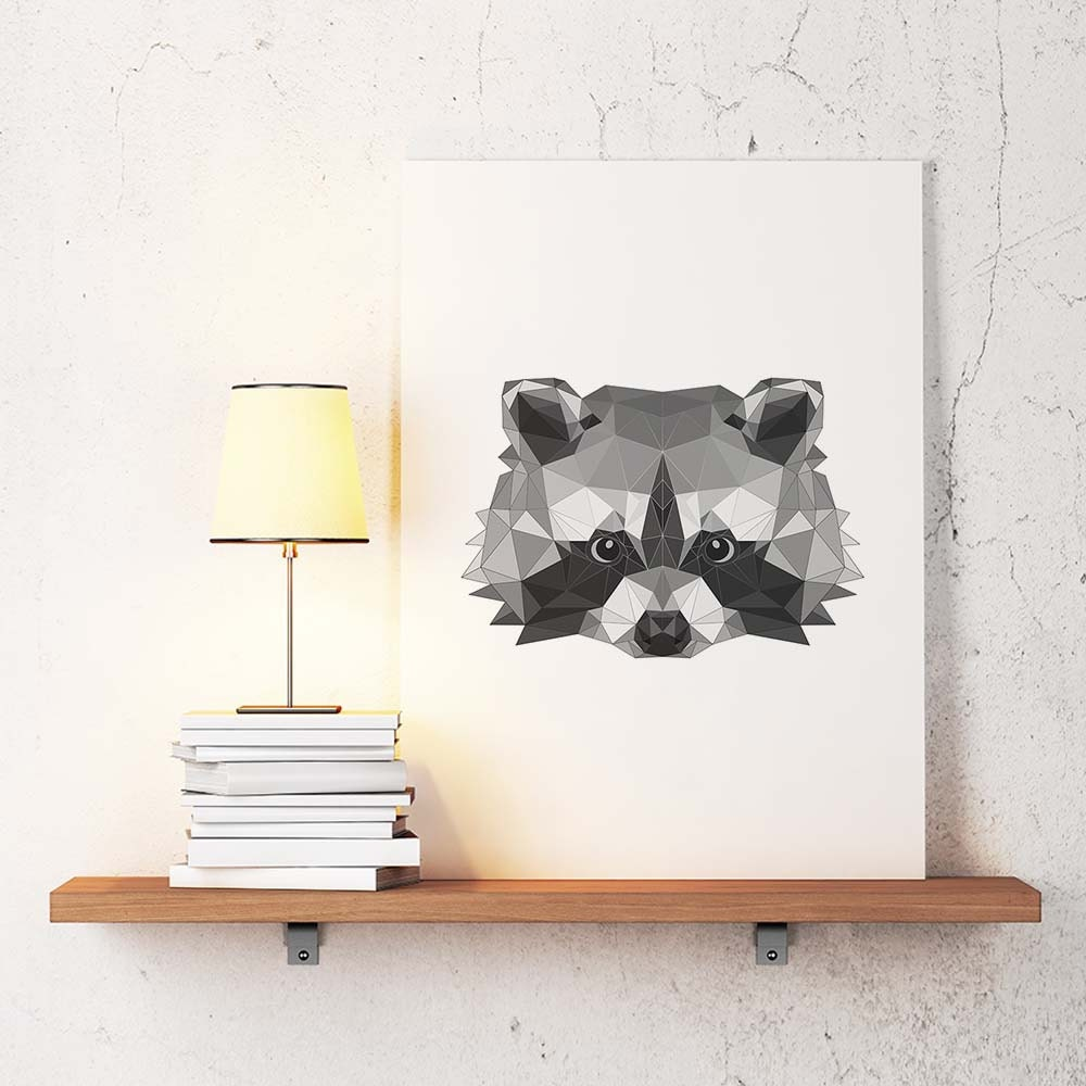raccoon poster geometric art raccoon wall decor minimalist
