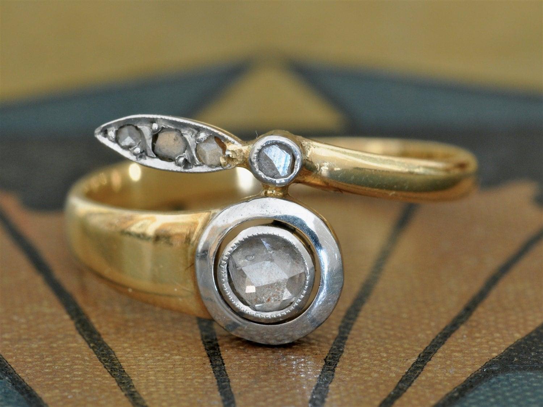 Antique Diamond Ring-1800s Engagement Ring-Art Nouveau