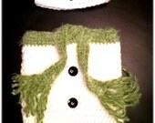 Hand Crochet Newborn Winter Snowman Hat & Cocoon Photo Prop Set