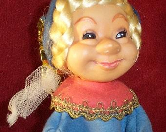 Steiff Princess Hand Puppet Girl Blue Felt PVC Head 1970s no ID Vintage