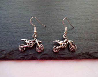 Motorcycle Earrings, Dirt Bike Earrings, Charm Earrings, Silver Earrings, Motocross Earrings, Off Road Bike