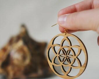 Flower of Life Earrings, Seed of Life, Spiritual Jewelry, Spiritual Earrings, Sacred Geometry Earrings, Gift for Her, Bamboo Earrings (EB06)