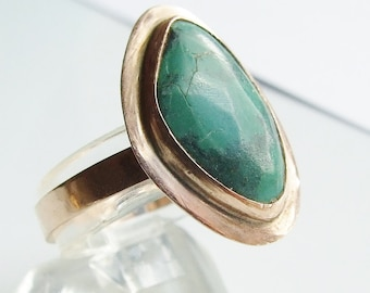 Antique 14ct 14k Rose Gold Large Turquoise Ring Size 9 - R 1/2