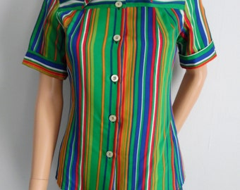 Womens shirt blouse, stripey striped top, french 60s vintage retro, green blue red, daggar collar, short sleeve, small