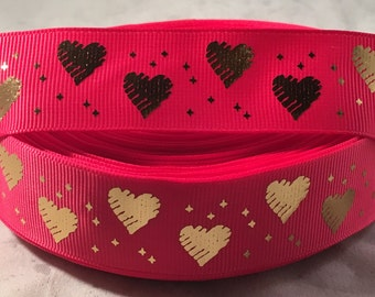 Heart Ribbon - 1 inch Grosgrain Ribbon Bright Pink with Metallic Gold Hearts - Craft Supply - Valentine Ribbon - Gold Heart Ribbon