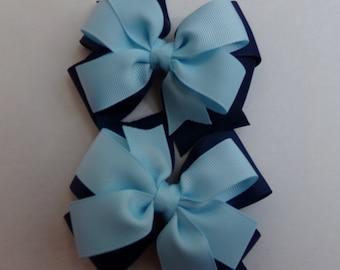 School Uniform Pinwheel Hair Bow Navy and Light Blue Hair Bow Set
