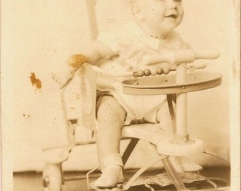 Vintage 1950's Baby in a Taylor Tot Baby Walker Stroller with Fenders Black & White Photograph