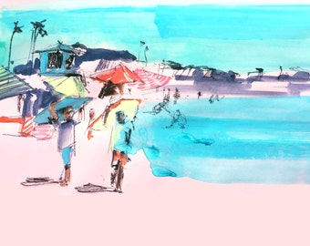 Beach scene on pink print. painting, watercolor, beach house art, california, beach watercolor palm trees southern california, ocean coral