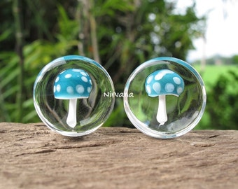 "1 Pair (2 Pieces) Magic Mushroom Plugs Pyrex Glass Aqua with Mint Spots  00g 7/16"" 1/2"" 9/16"" 5/8"" 3/4"" 1"" 5 mm 6 mm 8 mm 9.5 mm - 25.4 mm"