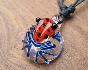 Custom Made Red Poison Tree Frog with Black Spots Glass Pendant Critters with Adjustable Black Cord (Free Shipping from Thailand)!!!