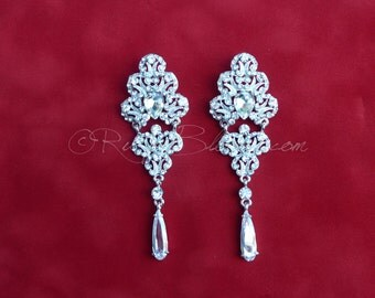 Teardrop Crystal Silver Wedding Earrings. Crystal Chandelier Earrings Wedding Jewelry Gift. Bridesmaids Bridal Accessory, Ruby Blooms