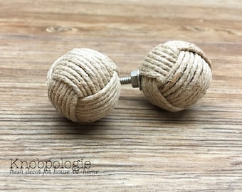 "SET OF 2 - 1.25"" Jute Rope Wrapped Knobs - Monkey Fist Knobs - Nautical Decor - Tan Burlap Rope - Natural Rustic Kitchen Home Accents"