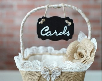 Rustic Chic Basket for Wedding Cards or Wedding Programs, wedding card basket, burlap card basket, program basket, rustic basket